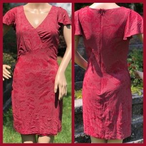 ANDREW MARC RED TEXTURED PATTERN FITTED DRESS 6